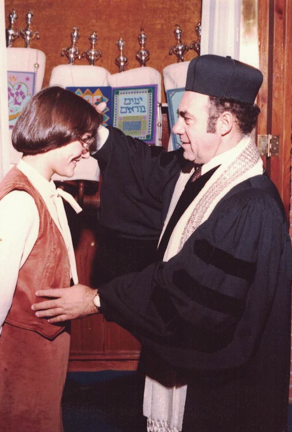 Rabbi Phillip Lazowski blessing (now rabbi) Deborah Waxman as she became bat mitzvah on November 17, 1979.