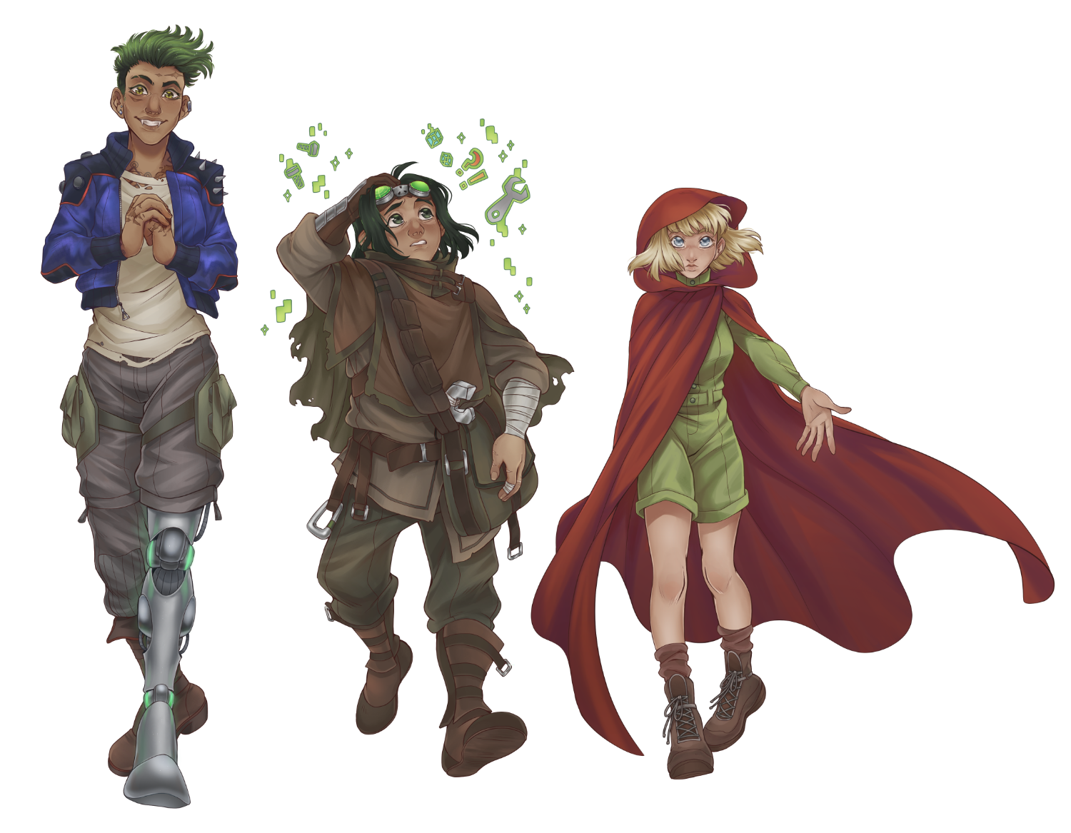 Our cast of three explorers walking towards camera.. From left to right: Nix - a warrior woman with green hair and serpent fangs cracks her knuckles and smiles. Her left leg is a metal prosthetic with jade green seams. Dili - a short dark haired man with dark green eyes looks distractedly past his pushed up goggles at multi-colored shapes floating above his head. ChaCha - An even shorter fair-skinned woman with blonde hair stares strangely forward with blue eyes. She has extended her left arm flourishing out her bright red hooded cloak to reveal the short-legged lime-green romper she wears beneath.