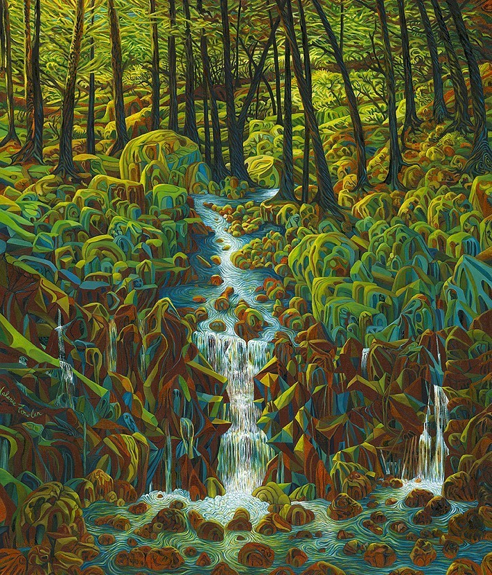 valerie fowler - Lake George Waterfall, Dedicated to C. Bruce Beattie oil on canvas 43x37