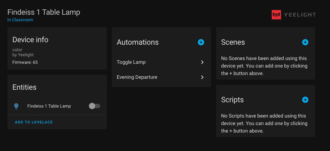 Yeelight Device Screenshot