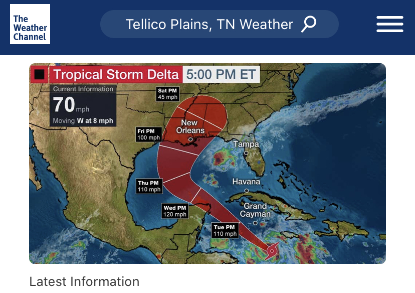 Weather Channel as of 5pm 10/6/2020
