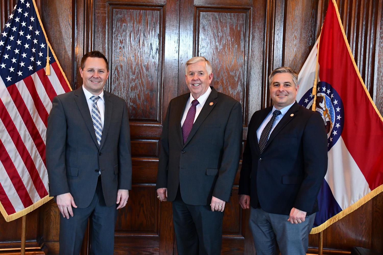 Shad Burner, Governor Parson, and Department of Economic Development Director Rob Dixon