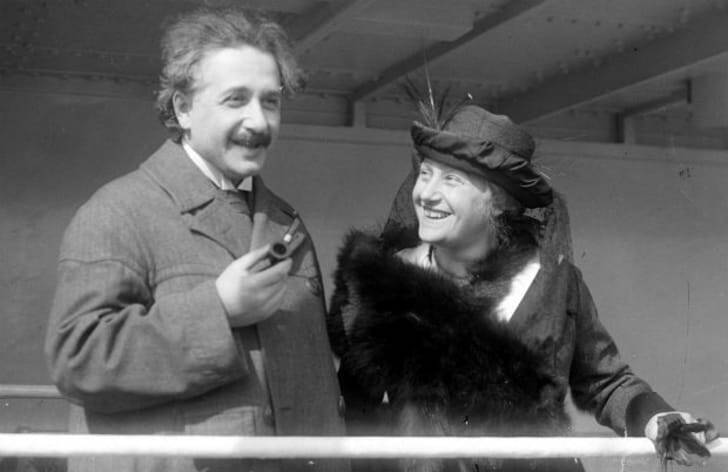 Einstein on his way to London with his wife Elsa