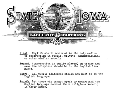 Anti-German Laws of Iowa