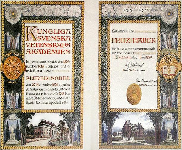 Fritz Haber Nobel Prize Certificate