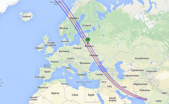 Path of 1914 Total Solar Eclipse