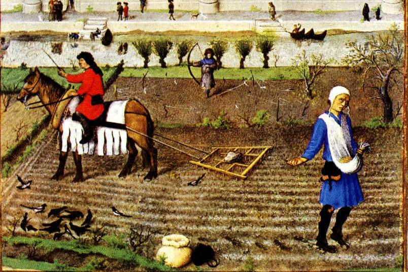 Medieval image of ploughing and sowing