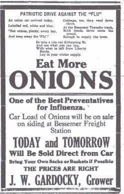 Spanish Flu Onions Ad