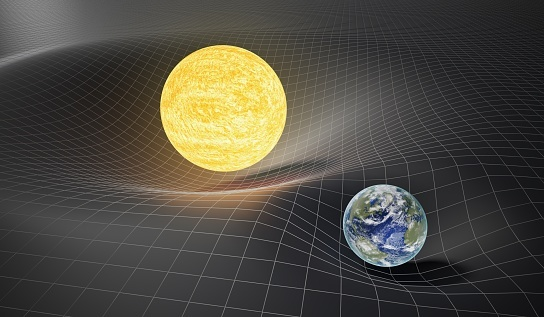 Relativity theory - representation of space curving in response to the mass of the sun and earth