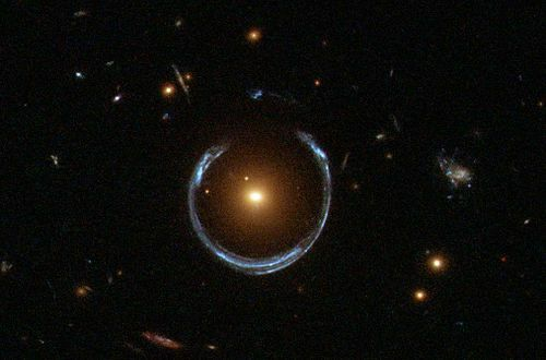 Example of gravitational lensing - galaxy appears as a ring of light